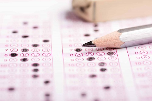 scantron sheet with pencil