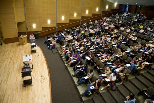 lecture hall filled with students